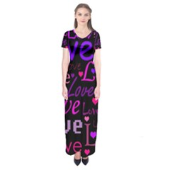 Love pattern 2 Short Sleeve Maxi Dress
