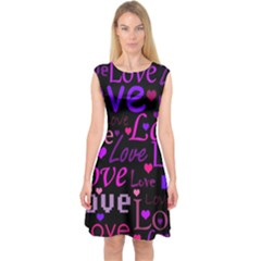 Love pattern 2 Capsleeve Midi Dress