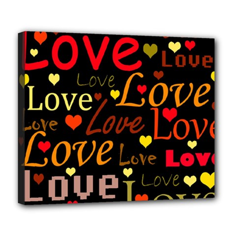 Love pattern 3 Deluxe Canvas 24  x 20
