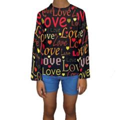 Love pattern 3 Kids  Long Sleeve Swimwear