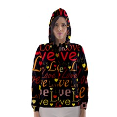 Love pattern 3 Hooded Wind Breaker (Women)