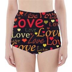 Love pattern 3 High-Waisted Bikini Bottoms