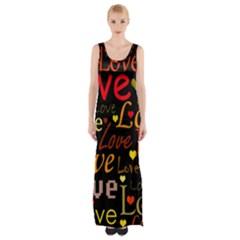 Love pattern 3 Maxi Thigh Split Dress