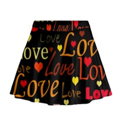 Love pattern 3 Mini Flare Skirt