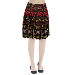 Love pattern 3 Pleated Skirt