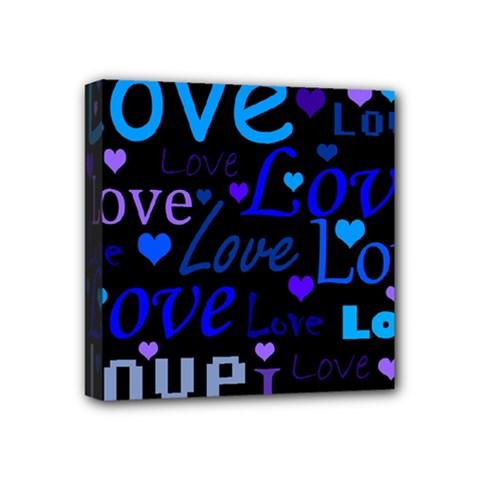 Blue love pattern Mini Canvas 4  x 4