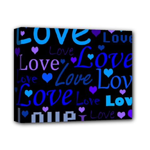 Blue love pattern Deluxe Canvas 14  x 11