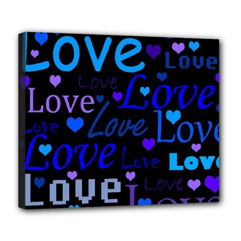 Blue love pattern Deluxe Canvas 24  x 20