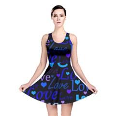 Blue love pattern Reversible Skater Dress