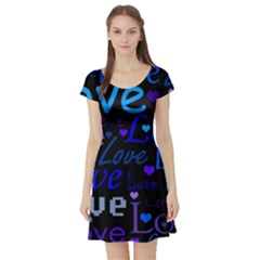 Blue love pattern Short Sleeve Skater Dress