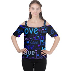 Blue love pattern Women s Cutout Shoulder Tee