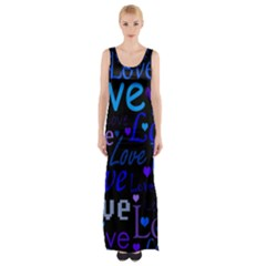 Blue love pattern Maxi Thigh Split Dress