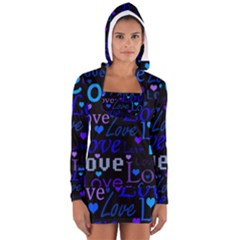 Blue love pattern Women s Long Sleeve Hooded T-shirt