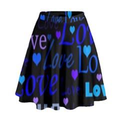 Blue love pattern High Waist Skirt