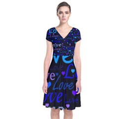 Blue love pattern Short Sleeve Front Wrap Dress