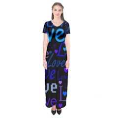 Blue love pattern Short Sleeve Maxi Dress