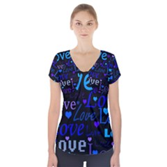 Blue Love Pattern Short Sleeve Front Detail Top