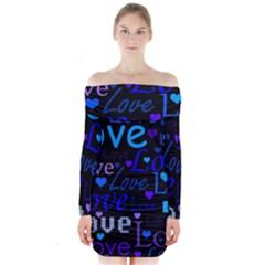 Blue love pattern Long Sleeve Off Shoulder Dress