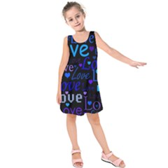 Blue Love Pattern Kids  Sleeveless Dress