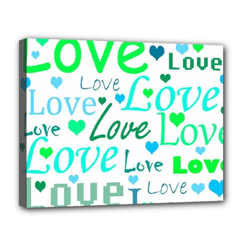 Love pattern - green and blue Canvas 14  x 11