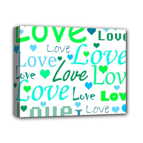 Love pattern - green and blue Deluxe Canvas 14  x 11