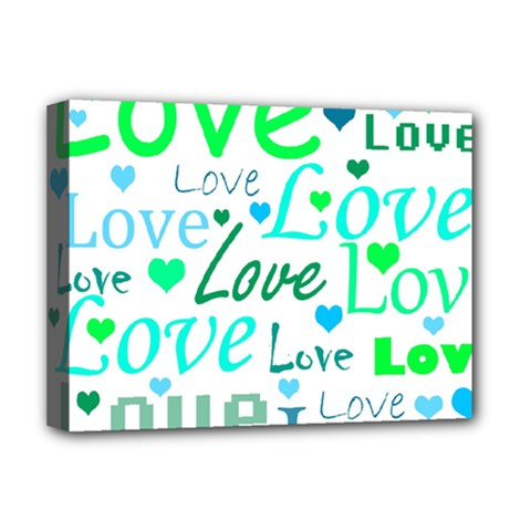 Love pattern - green and blue Deluxe Canvas 16  x 12