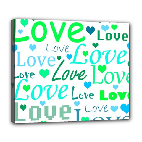 Love pattern - green and blue Deluxe Canvas 24  x 20