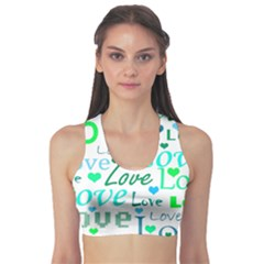 Love pattern - green and blue Sports Bra
