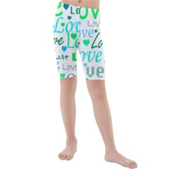 Love pattern - green and blue Kids  Mid Length Swim Shorts