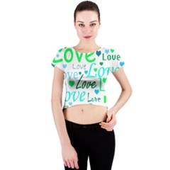 Love pattern - green and blue Crew Neck Crop Top