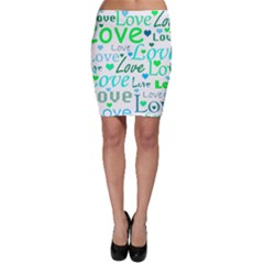 Love pattern - green and blue Bodycon Skirt