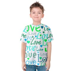 Love pattern - green and blue Kids  Cotton Tee