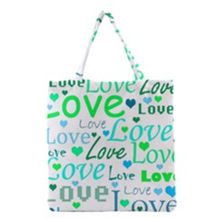 Love pattern - green and blue Grocery Tote Bag