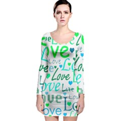 Love pattern - green and blue Long Sleeve Bodycon Dress