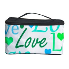 Love pattern - green and blue Cosmetic Storage Case