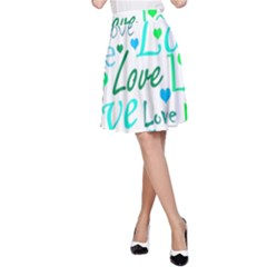 Love pattern - green and blue A-Line Skirt