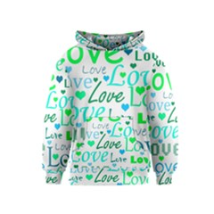 Love pattern - green and blue Kids  Pullover Hoodie