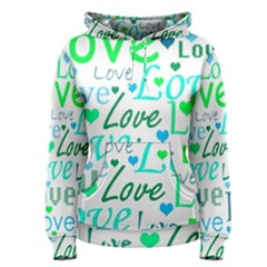 Love pattern - green and blue Women s Pullover Hoodie