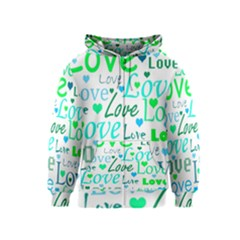 Love pattern - green and blue Kids  Zipper Hoodie