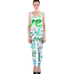 Love pattern - green and blue OnePiece Catsuit