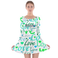 Love pattern - green and blue Long Sleeve Skater Dress