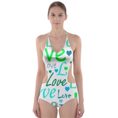 Love pattern - green and blue Cut-Out One Piece Swimsuit