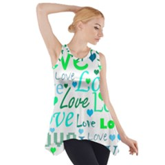 Love pattern - green and blue Side Drop Tank Tunic