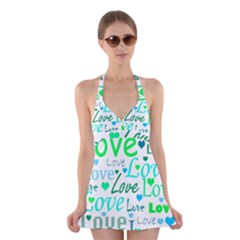 Love pattern - green and blue Halter Swimsuit Dress