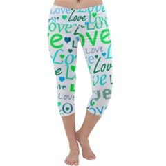 Love pattern - green and blue Capri Yoga Leggings