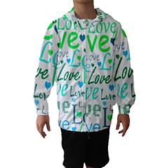 Love pattern - green and blue Hooded Wind Breaker (Kids)