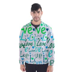 Love pattern - green and blue Wind Breaker (Men)