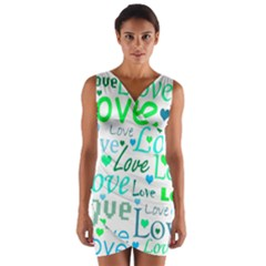 Love pattern - green and blue Wrap Front Bodycon Dress