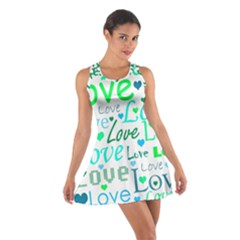 Love pattern - green and blue Cotton Racerback Dress