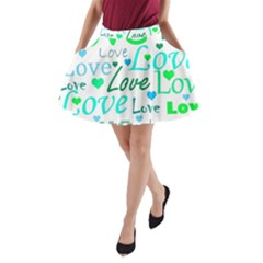 Love pattern - green and blue A-Line Pocket Skirt